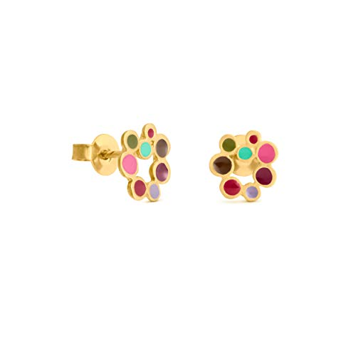 JOIDART – PENDIENTES DORADOS CANDY COLOURS   Diseñado por Joidart   Colección Candy Colours   Metal con baño de oro de 24 K   Pendientes de botón pequeños