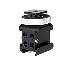 Microphone - 090 DSLR Field Monitor Pack of 2 NICEYRIG Flash Cold Shoe Adapter Multifuntional Shoe Mount with 1//4 Thread for Flash Light