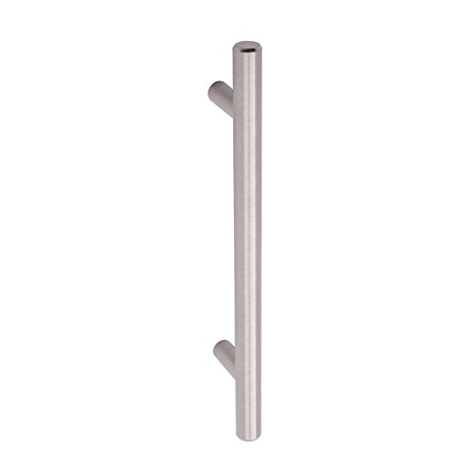 AmazonBasics Euro Bar Cabinet Handle (1/2-inch Diameter), 7.38-inch Length (5-inch Hole Center), Satin Nickel, 10-Pack