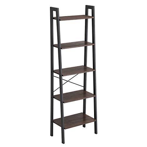 VASAGLE Industrial Ladder Shelf, 5-Tier Bookcase, Storage Unit, with Metal Frame, for Living Room, Kitchen, Rustic Dark Brown