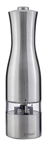 Stoha Design Elektrische Salz-/Pfeffermühle, Edelstahl, Silber, 5,5 x 5,5 x 22 cm