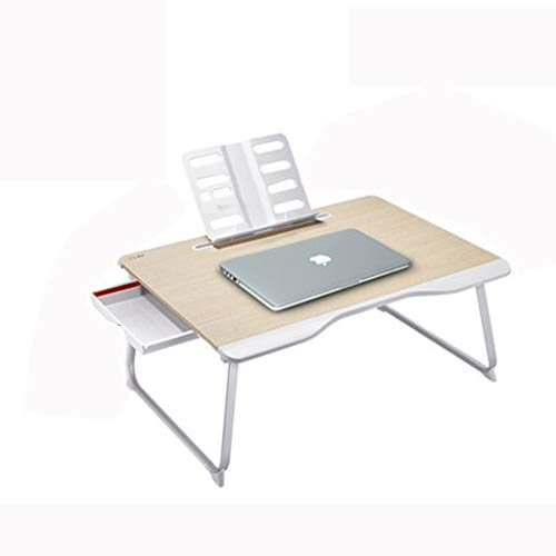 LSXLSD Letto Laptop Table - Portable Giro scrivania Notebook Stand Lettura Holder Colazione Cassetto con Pieghevoli Gambe - Coppa Slot for Fare Colazione, Leggere, Guardare Film sul Letto/Divano/s