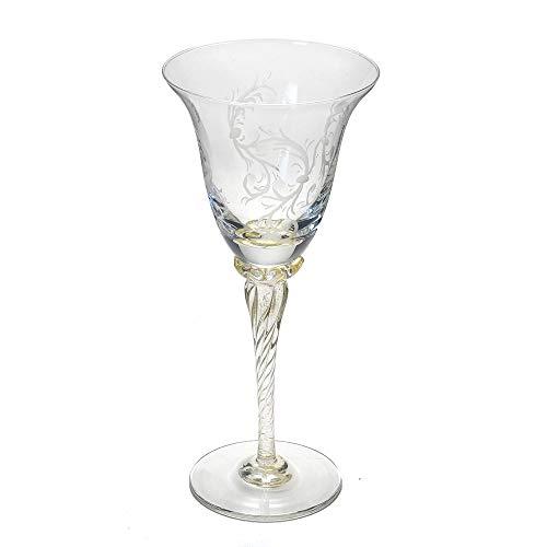 イタリア製 ワイングラス ベネチアングラス 240ml エッチング ムラノ グラスリッツエン 手彫り ゴールド ステム 金 etr-06