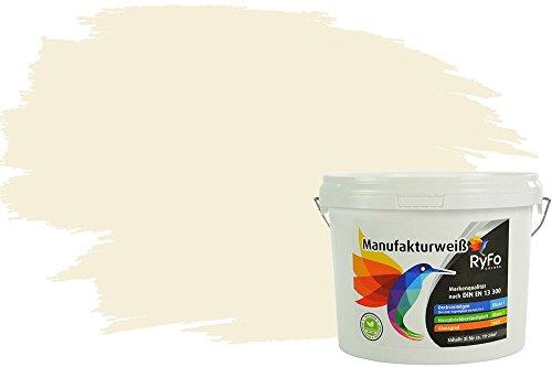 RyFo Colors Bunte Wandfarbe Manufakturweiß Alabasterweiß 3l - weitere Weiß Farbtöne und Größen erhältlich, Deckkraft Klasse 1, Nassabrieb Klasse 1