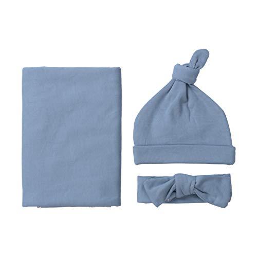 Newborn Baby Girl Boy Swaddle Wrap Blanket Sleeping Bag+Headband +Hat 3pcs Outfits Set (Gray-Blue, One size)