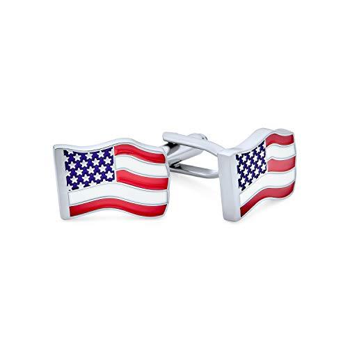 Bling Jewelry Herren Rot Weiß Blau Sterne Streifen Patriotischen Amerikanischen Usa Flagge Shirt Manschettenknöpfe Für Männer Edelstahl Scharnier Zurück