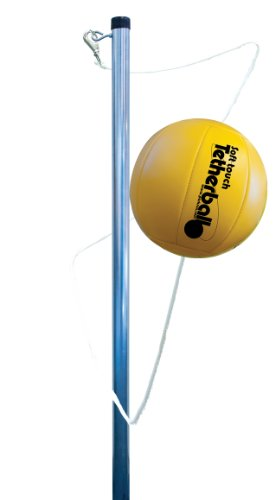 Park & Sun Sports Permanent Outdoor Tetherball Set with Accessories (2-Piece Pole) Yellow & Silver, 10.25 feet