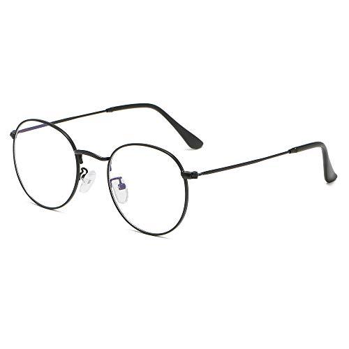 Gafas con filtro de luz azul sin graduación, antifatiga, protección UV, gafas de ordenador, retro, redondas, montura de metal, con funda negro mate M