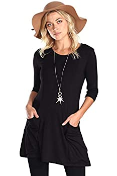 Popana Womens 3/4 Sleeve Tunic Top with Pockets for Leggings Made in USA X-Large Black