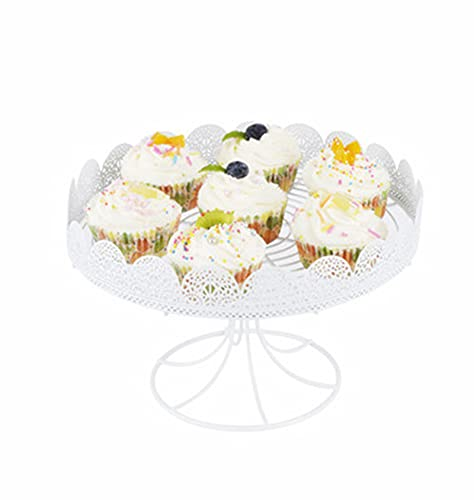 PETAAA Cake Stands White Hollow Metal Iron Cake Stands, Cake Trays Fruit Stands Sandwich Plates Wedding Dessert Decoration Props Food Servers 25cm(Color:white)