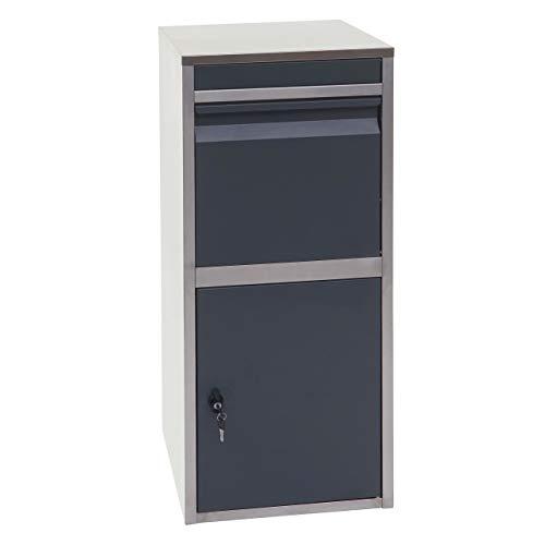 Mendler Paketkasten HWC-G80, Paketbox Standbriefkasten Paketbriefkasten Briefkasten ~ Edelstahl anthrazit