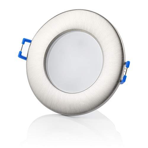 sweet-led 5er,Dimmbar Einbaustrahler IP44 6,5W 650 Lumen,LED Ultra Flach Warmweiß - Kaltweiß 230V Bad Einbauspots Einbauleuchten, einbaulampe chrom (5er-Chromfarbig-Warmweiß)