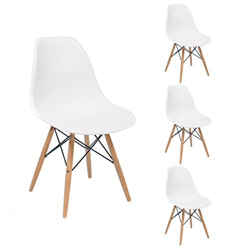 Sillas De Cocina Blancas Pack 4 sillas de cocina blancas  Marca Homely