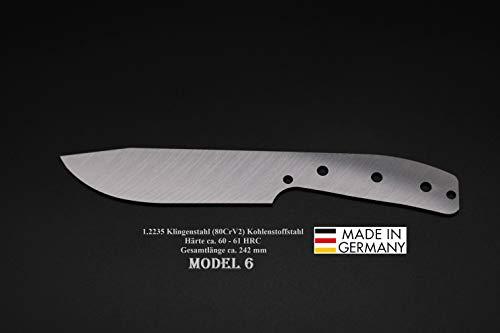 Rohling Messer Model 6 / 242mm Poliert Messerbau Messerstahl Messerklinge Klingenrohling Jagdmesser