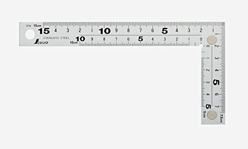シンワ測定(Shinwa Sokutei) 曲尺 厚手広巾 表裏同目 8段目盛 cm表示 マグネット付き シルバー 15cm 10435