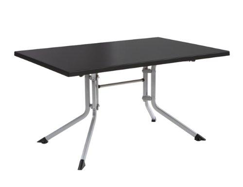 Kettler Boulevard Klapptische Advantage Gartentisch klappbar - Garten-Klapptisch - robuste Tischplatte aus Kettalux-Plus-Kunststoff - hochwertige Gartenmöbel - 140 cm x 95 cm - silber/anthrazit