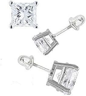 14K White Gold 4mm Princess Cut Simulated Diamond Stud Earring Set on Prong Setting, Screw Back Post