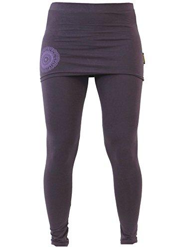 GURU SHOP Yoga-Hose, Leggings mit Minirock Bio BW Yogi, Damen, Plum, Baumwolle, Size:S (36), Shorts, Leggings Alternative Bekleidung