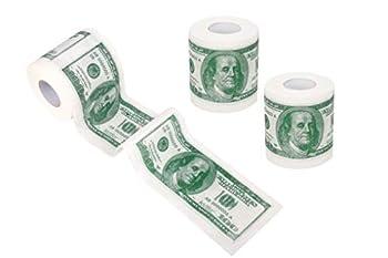 SummitLink 3 Rolls $100 Hundred US Dollar Bill Toilet Paper Tissue Napkin Prank Fun Birthday Party Novelty Gift Idea