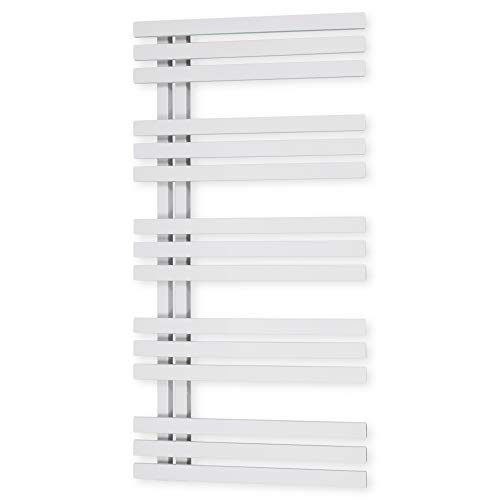 Design Badheizkörper Paneel mit Anschluss links oder rechts | Heizkörper mit versetztem Mittelanschluss (1000 x 500, Weiß) (307 Watt nach EN442)