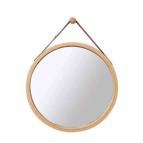 SMEJS Espejo de pared redondo para colgar en el baño y el dormitorio, marco de bambú sólido y correa de cuero ajustable, decoración del hogar (tamaño: S)