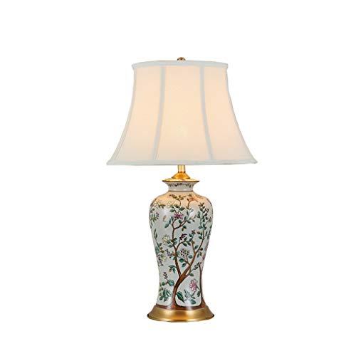 CCLL Amerikanische Schreibtischlampe Wohnzimmer Retro Blume und Vogel Studie Keramik Schlafzimmer Nachttischlampe Tischlampe Reading lamp