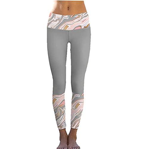 Medias Casuales De Verano para Mujer Pantalones De CháNdal Estampados Pantalones De Nueve Puntos EláSticos De Cintura Alta