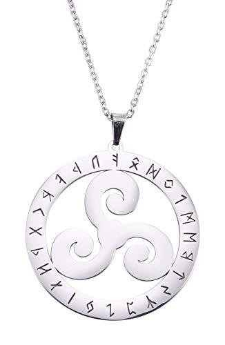 VASSAGO Collar de acero inoxidable con símbolo de 24 runas vikingas nórdicas de triskele celta de acero inoxidable redondo amuleto collares regalos para hombres mujeres y adolescentes