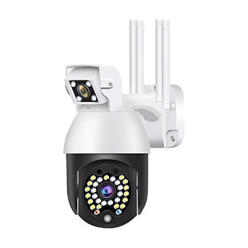 Cámara IP inalámbrica PTZ Wifi, cámara domo de velocidad de doble lente 1080P para exteriores, 29 piezas de detección de acción LED Cámara de seguridad para el hogar