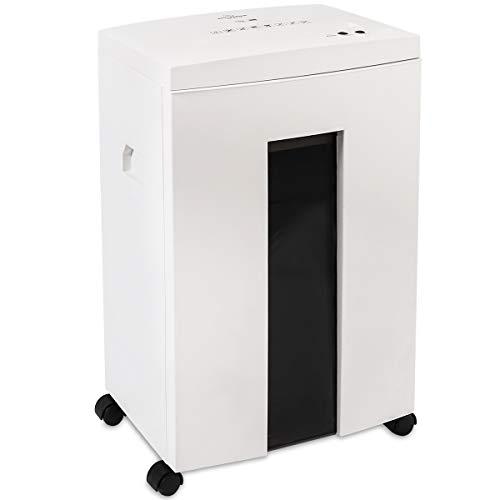 WOLVERINE 10-Blatt P5-Hochsicherheits-Aktenvernichter mit Super-Mikroschnitt für schweres Papier, CD, ultraleiser Betrieb, 40 Minuten Laufzeit und 21l herausnehmbarer Abfallbehälter SD9112 (Weiß)