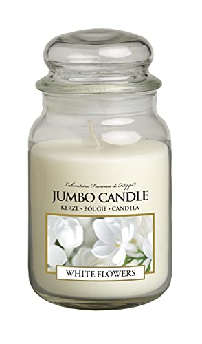 Jumbo Candle - Vela aromática en vaso de cristal (tamaño grande), duración de hasta 150 horas, diseño de flores blancas