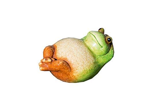 Teich Frosch Rückenschwimmer grün/creme/braun Keramik Breite 20,5 cm, Frogg, Teich, Gartendeko, Gartentier, Frosch
