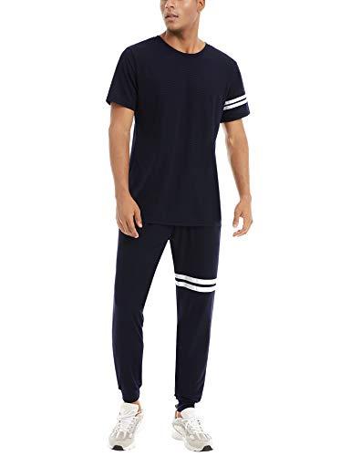 Aibrou Herren Quick Dry Jogginganzug Sommer Trainingsanzug Sets 2 Stück Freizeitanzug Kurzarm Rundhals T-Shirt und Lange Hose Shorts Marineblau XXL