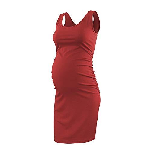 Tank Umstandskleider Ärmellose Schwangerschaftskleidung Lässige Sommerkleider Schwangere Mutter Knielanges Schwarzes Kleid Wine Navy-24_M.