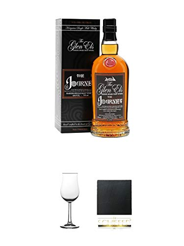 The Glen Els Journey Harzer Single Malt Whisky 0,7 Liter + Nosing Gläser Kelchglas Bugatti mit Eichstrich 2cl und 4cl 1 Stück + Schiefer Glasuntersetzer eckig ca. 9,5 cm Durchmesser