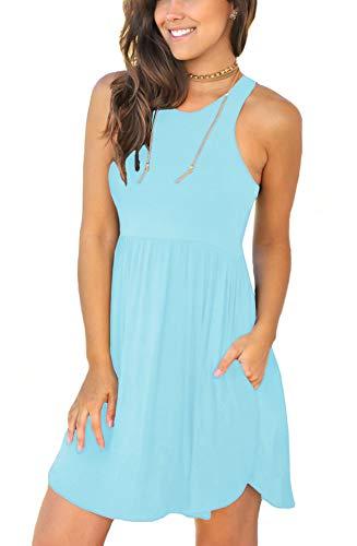 LONGYUAN Women's Summer Casual Tshirt Dress Swing Beach Dresses Medium, Sky Blue