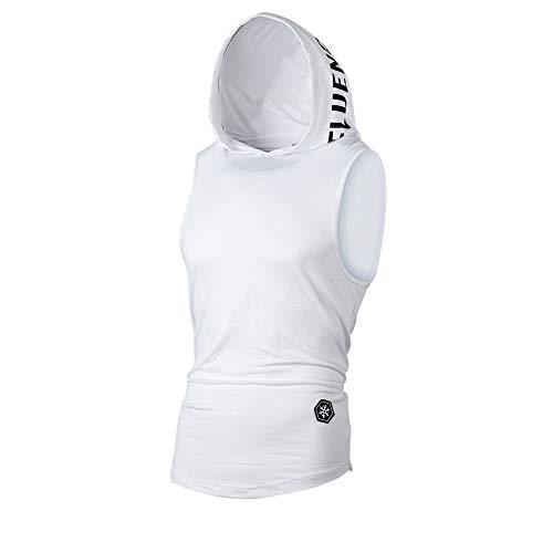 UJUNAOR Tank Top Herren Slim Fit Basic T-Shirt Tankshirt Mit Kapuze Ärmellos Muskelshirt Fitness Unterhemden(Weiß,EU S/CN M)