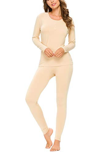 YOZLY Lightweight Thermal Underwear Womens Base Layer Set Henley Long Johns (Nude,L)