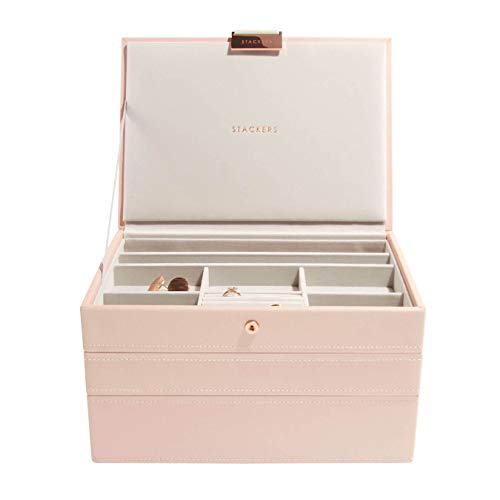 Stackers Blush Pink Classic Medium Jewellery Box, Set of 3