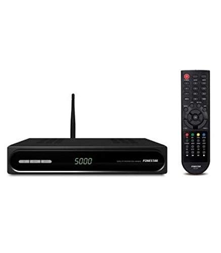 Fonestar RDS-584WHD - Receptor Satélite HD, WiFi, USB 2.0, Ethernet, 12 V DC, 1 A con adaptador incluido, Negro, 220 x 40 x 140 mm