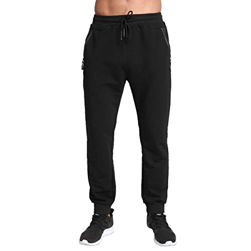 Tansozer Tracksuit Bottoms for Men Gym Trousers Mens Joggers Slim Fit Cotton Jogging Bottoms with Zip Pockets (Black, Medium)