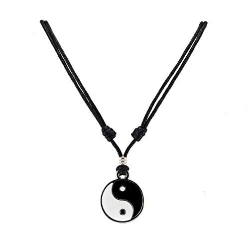 BlueRica Yin Yang Pendant on Adjustable Black Rope Cord Necklace
