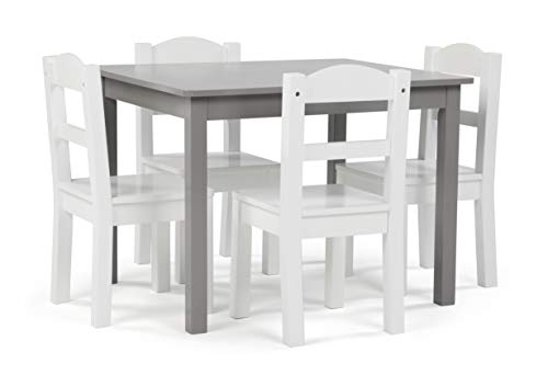 Tot Tutors Inspire Collection Kids Wood Table & 4 Chair Set, Grey/White