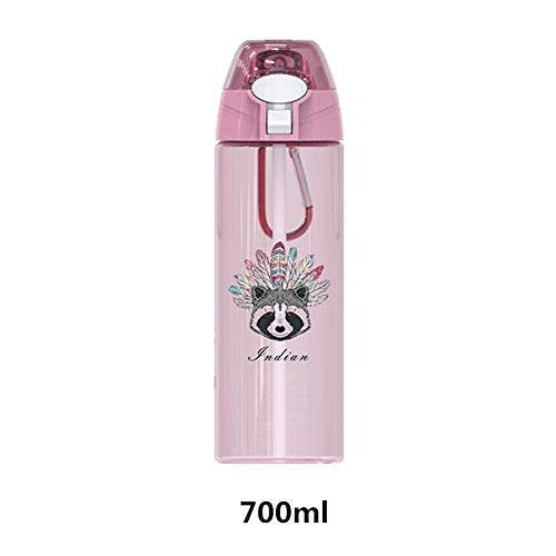 Stainless Steel Water Bottle,700Ml Reusable Thermal Insulated Vacuum Portable Hydro Flasks Blue Protein Shaker Bottle With Straw Indian Raccoon Pattern Bpa Free Leakproof Bottle For School Kids Boy