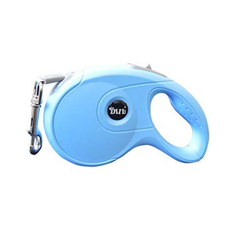 Einziehbare Hundeleine, ausziehbar 3M 10 ft / 5M 16 ft Hundeleine für mittelgroße Hunde mit Einem Gewicht von bis zu 90 kg, verwirrungsfrei, One Button Break & Lock - Blau