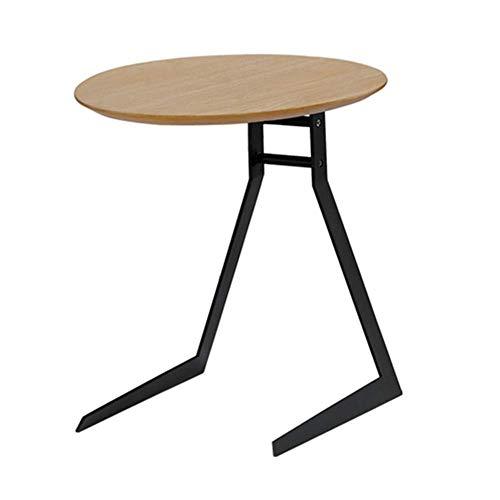 N/Z Wohnausstattung Moderner nordischer einfacher schmiedeeiserner Couchtisch Holztisch Wohnzimmer Sofa runde Seite Kleiner Beistelltisch