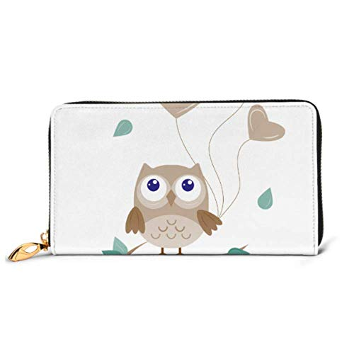 JHGFG Mode Handtasche Reißverschluss Brieftasche Eule Luftballons Eule Braun Farbe Telefon Kupplung Geldbörse Abendkupplung Blockieren Leder Brieftasche Multi Card Organizer