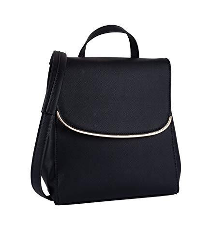 SIX Damen Rucksack, Tasche, Henkel, verstärkte Riemen, Klappe, schwarz, Gold (726-557)