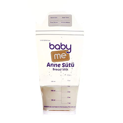 ebebek baby me Muttermilchbeutel für Mam und Nasensauger baby, Packung mit 50 Stück, BPA-Frei, Aufbewahrung Beutel für Milch zum Stillen, Doppelte Verschlussreihe, mit dem Handpumpe benutzbar