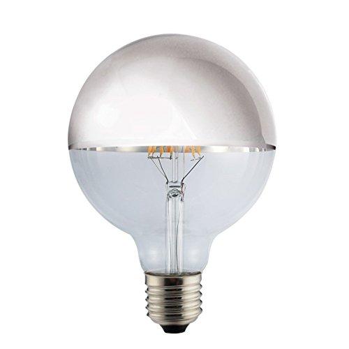 LED Vintage RLED Bombilla LED con Luz Cálida E27, 8 W, Plata, 12 x 18 cm